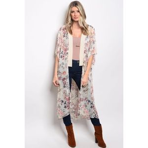 Sweaters - Last two! Floral natural kimono